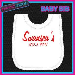 SWANSEA FOOTBALL WHITE BABY BIB EMBROIDERED